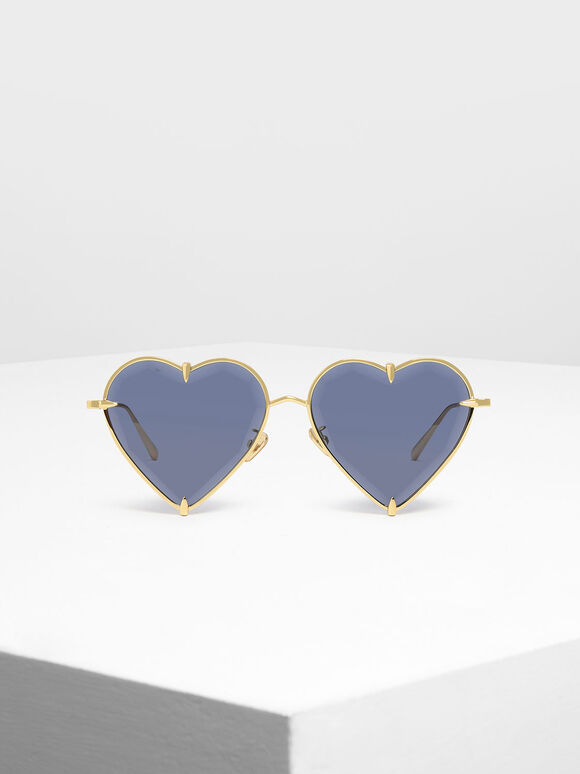 Thin Metal Frame Heart-Shaped Sunglasses, Blue, hi-res
