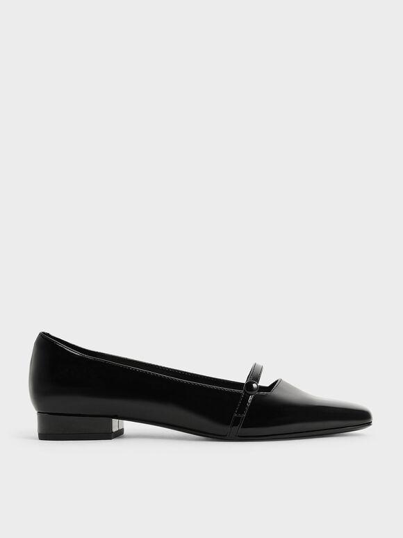 Patent Mary Jane Ballerina Pumps, Black, hi-res