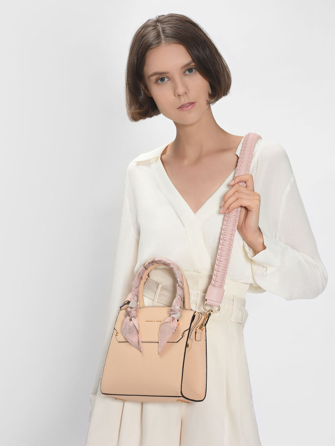 Knotted Weave Bag Strap, Blush, hi-res