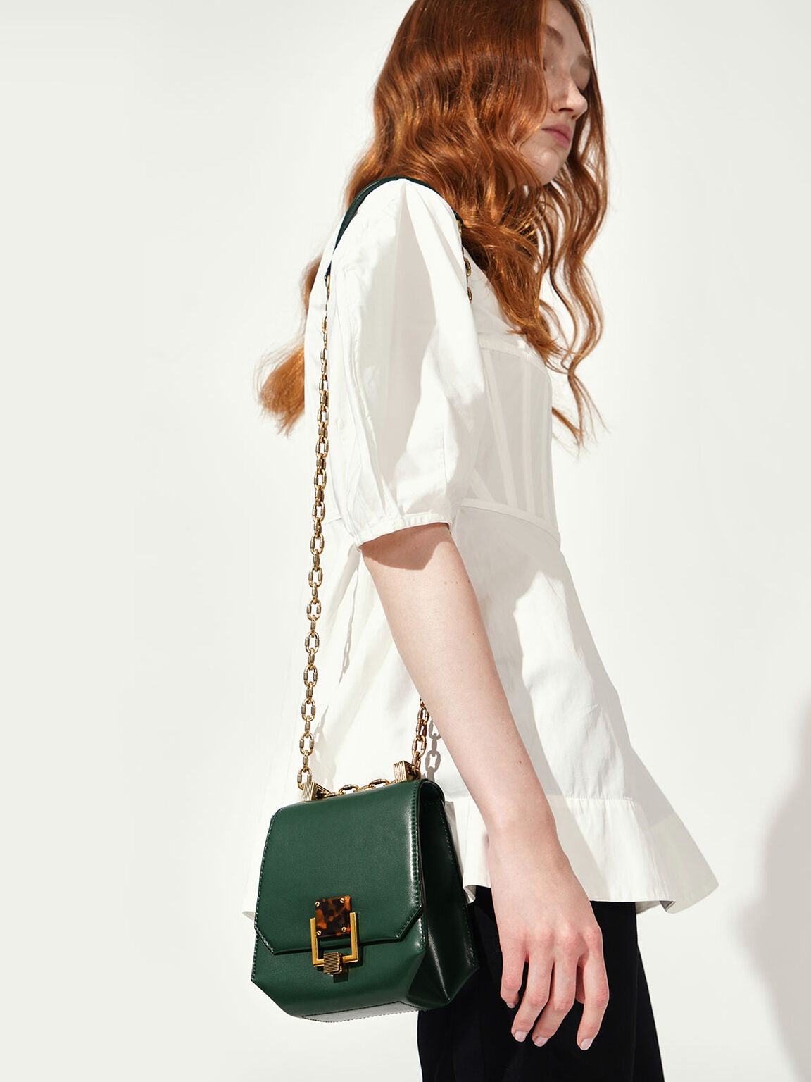 Metallic Accent Geometric Crossbody Bag, Green, hi-res