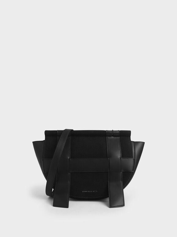 Caged Canvas Crossbody Bag, Black, hi-res