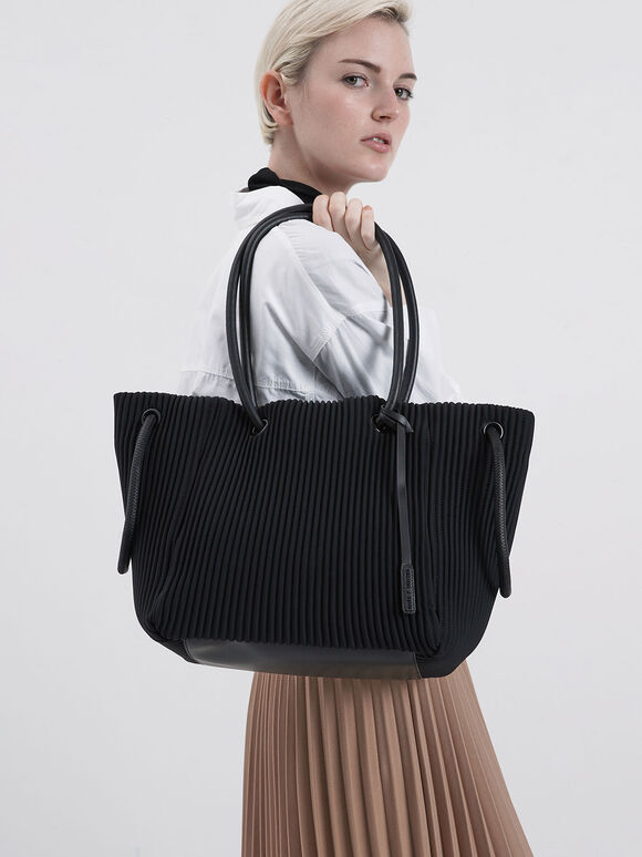 Neoprene Drawstring Tote Bag, Black, hi-res