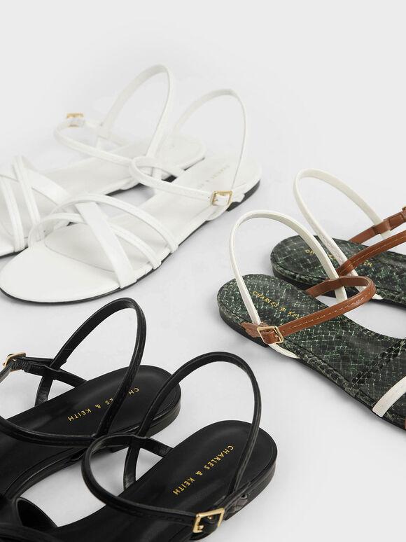 交叉帶平底涼鞋, 白色, hi-res