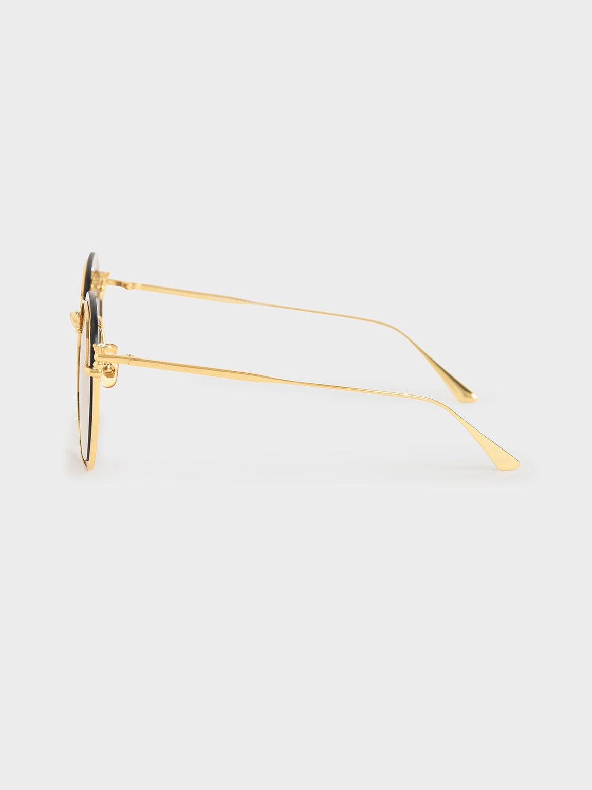 金屬透感墨鏡, 金色, hi-res