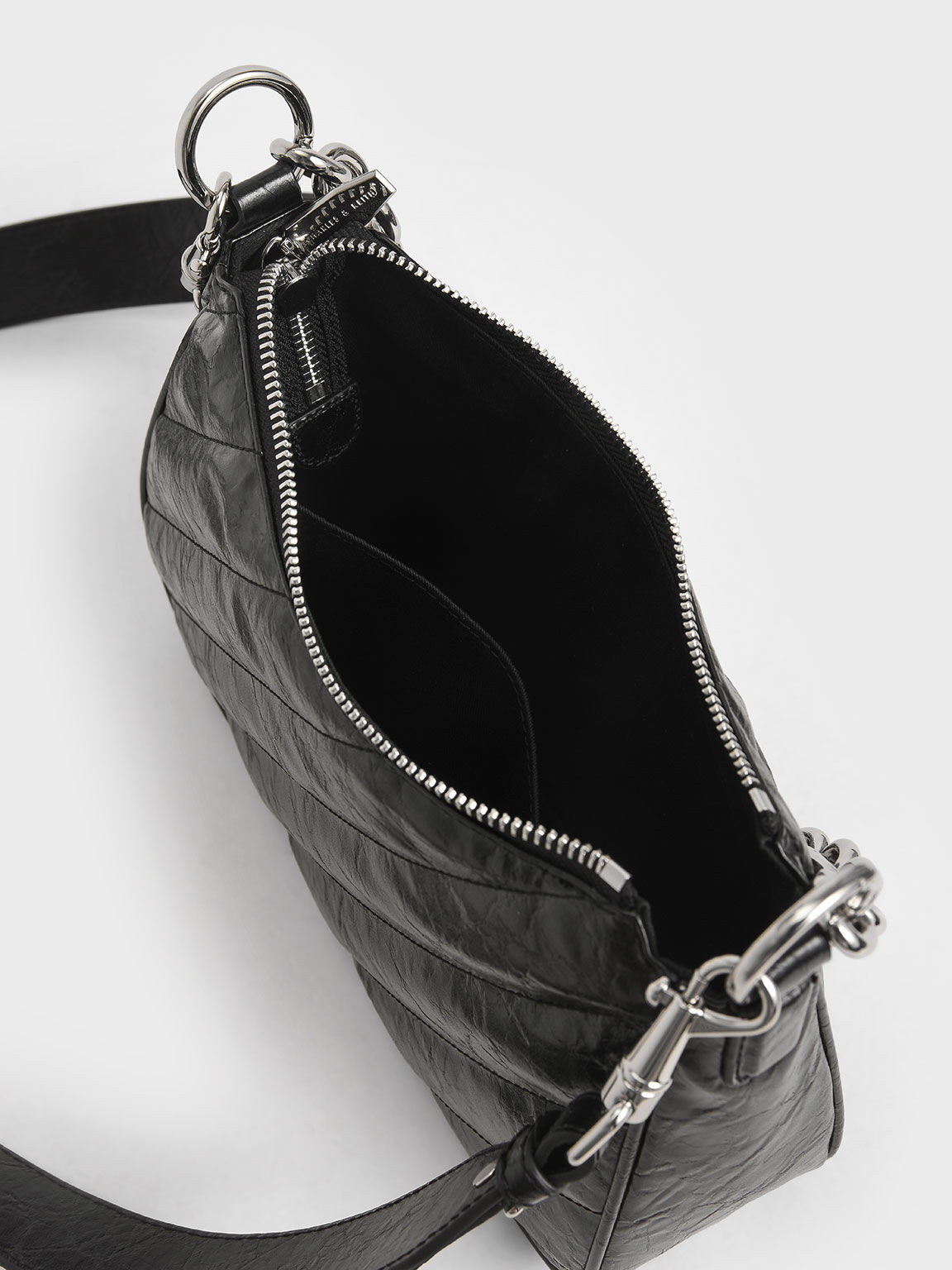 斜紋衍縫斜背包, 黑色, hi-res