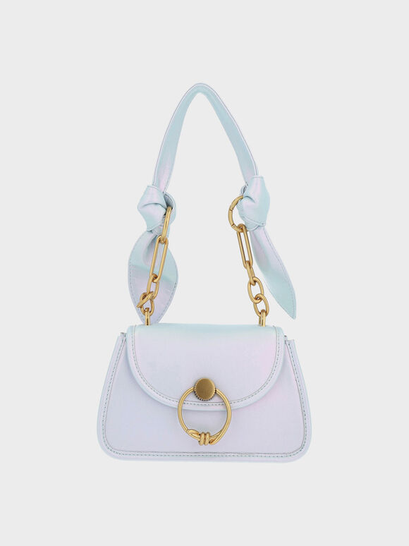 Ring Push-Lock Knotted Trapeze Bag, Peacock, hi-res