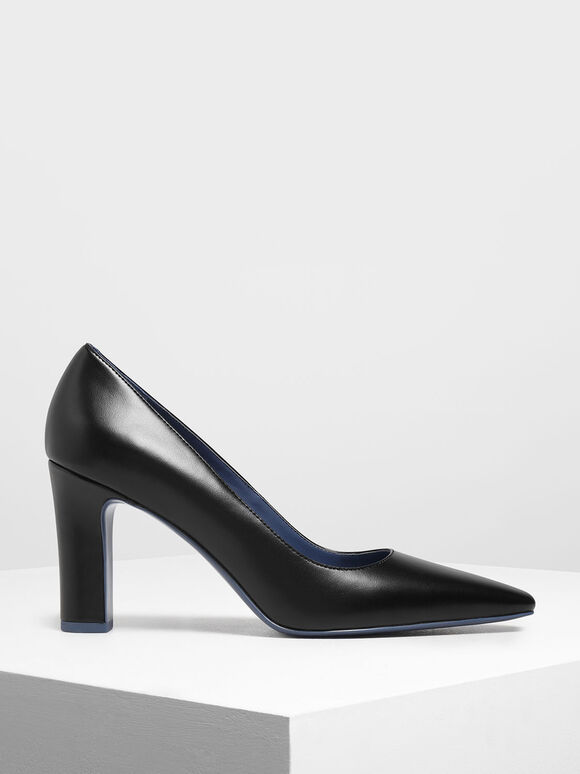 Pointed Toe Chunky Heel Pumps, Black, hi-res