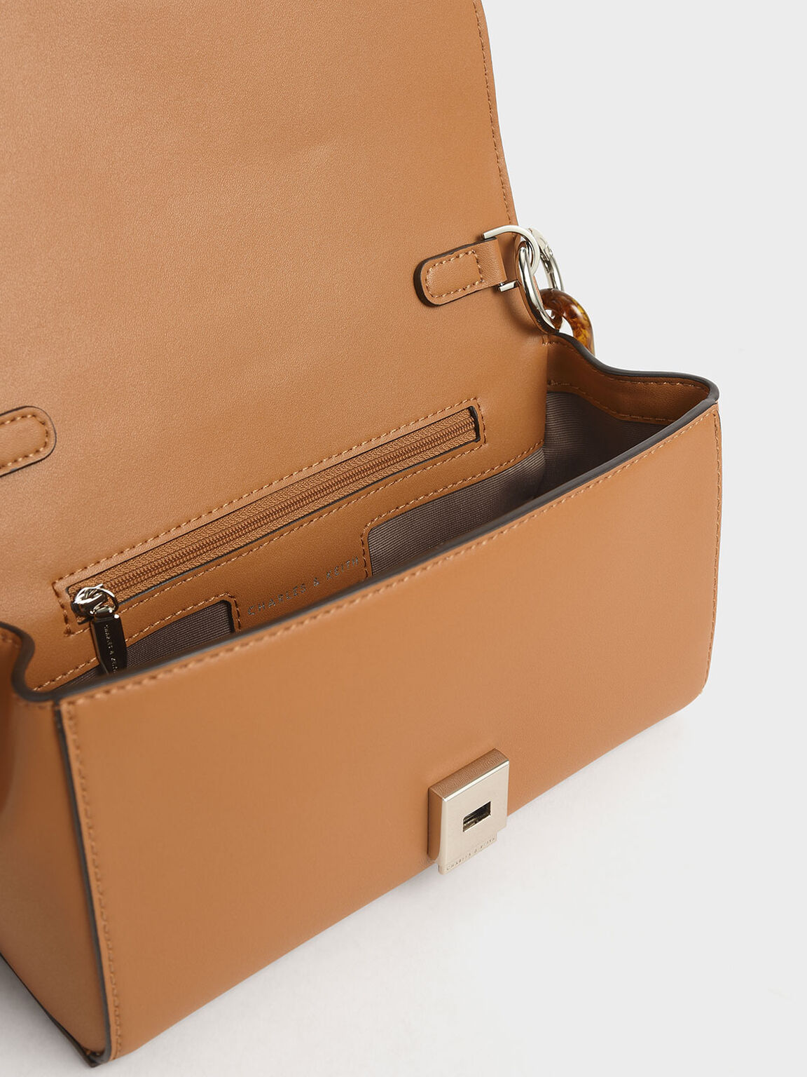 Chunky Chain Handle Mini Shoulder Bag, Caramel, hi-res