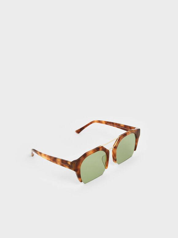 Tortoiseshell Cut-Off Frame Geometric Sunglasses, T. Shell, hi-res