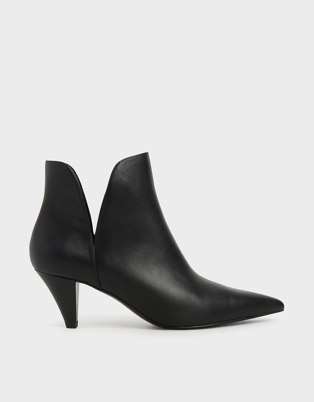 cone heel black boots