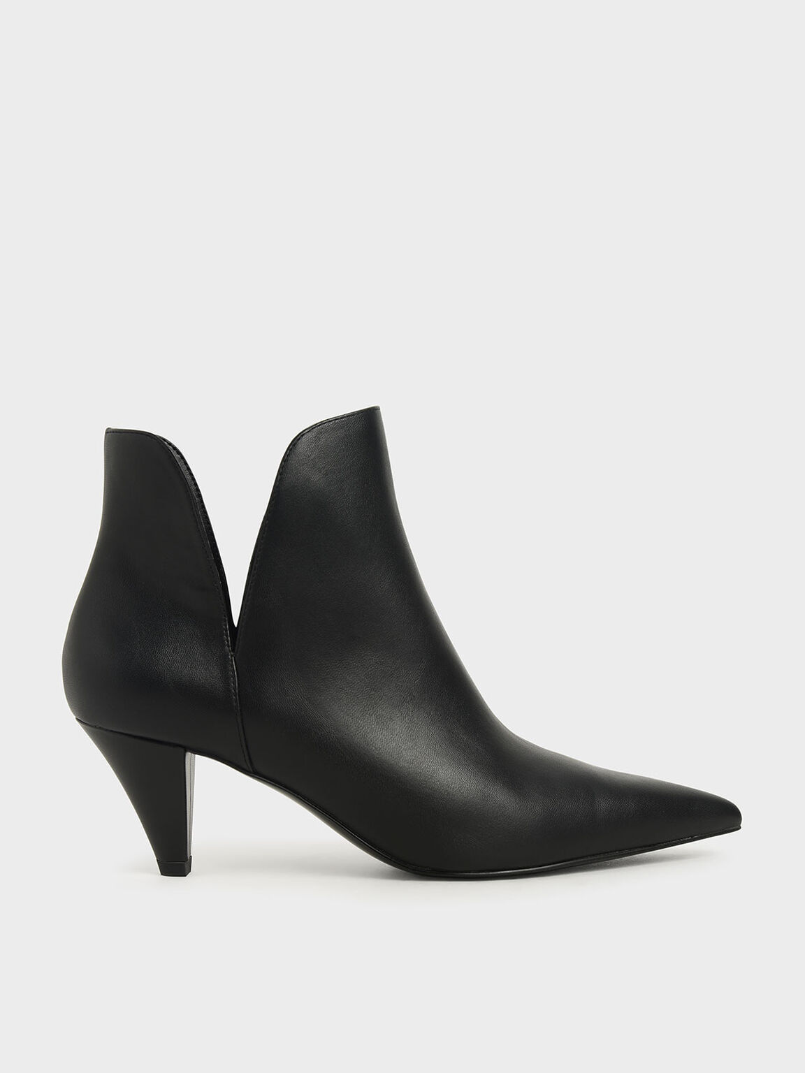 Cone Heel Ankle Boots, Black, hi-res