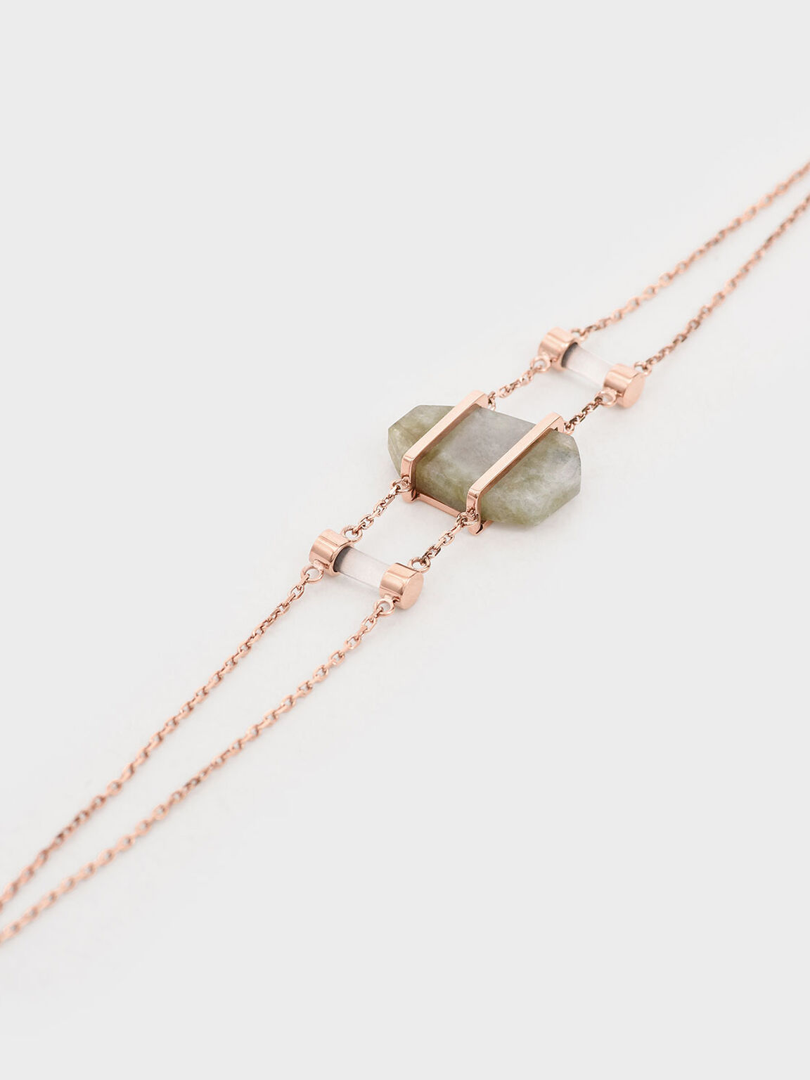 Labradorite Stone Double Layer Bracelet, Rose Gold, hi-res