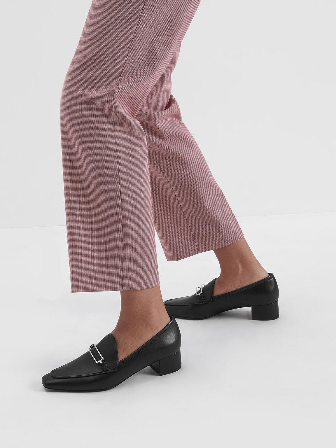 Metal Accent Block Heel Loafers, Black, hi-res