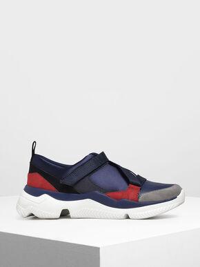 Velcro Slip-On Sneakers, Dark Blue