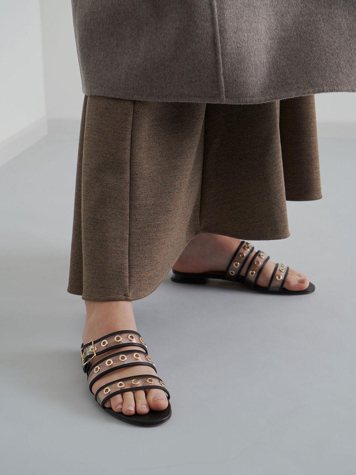 真皮果凍帶拖鞋, 黑色, hi-res