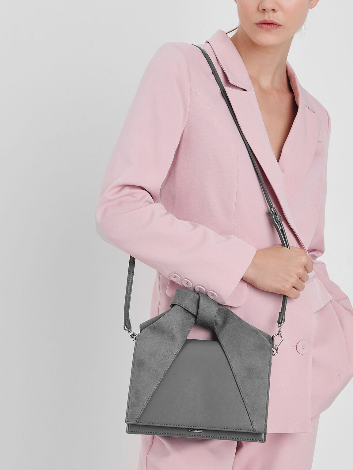 Bow Top Handle Bag, Grey, hi-res