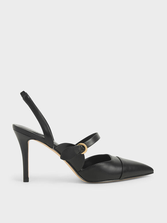 Mary Jane Strap Slingback Pumps, Black, hi-res