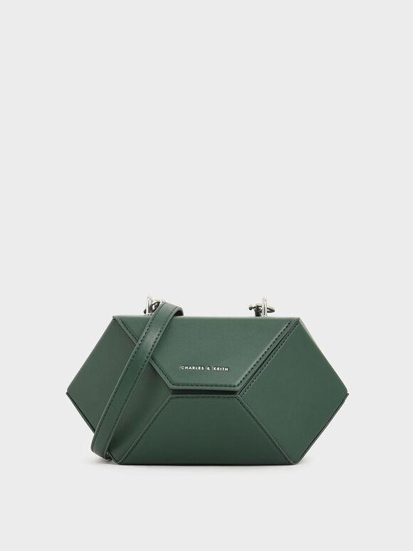 Demi Chain Handle Hexagon Bag, Dark Green, hi-res