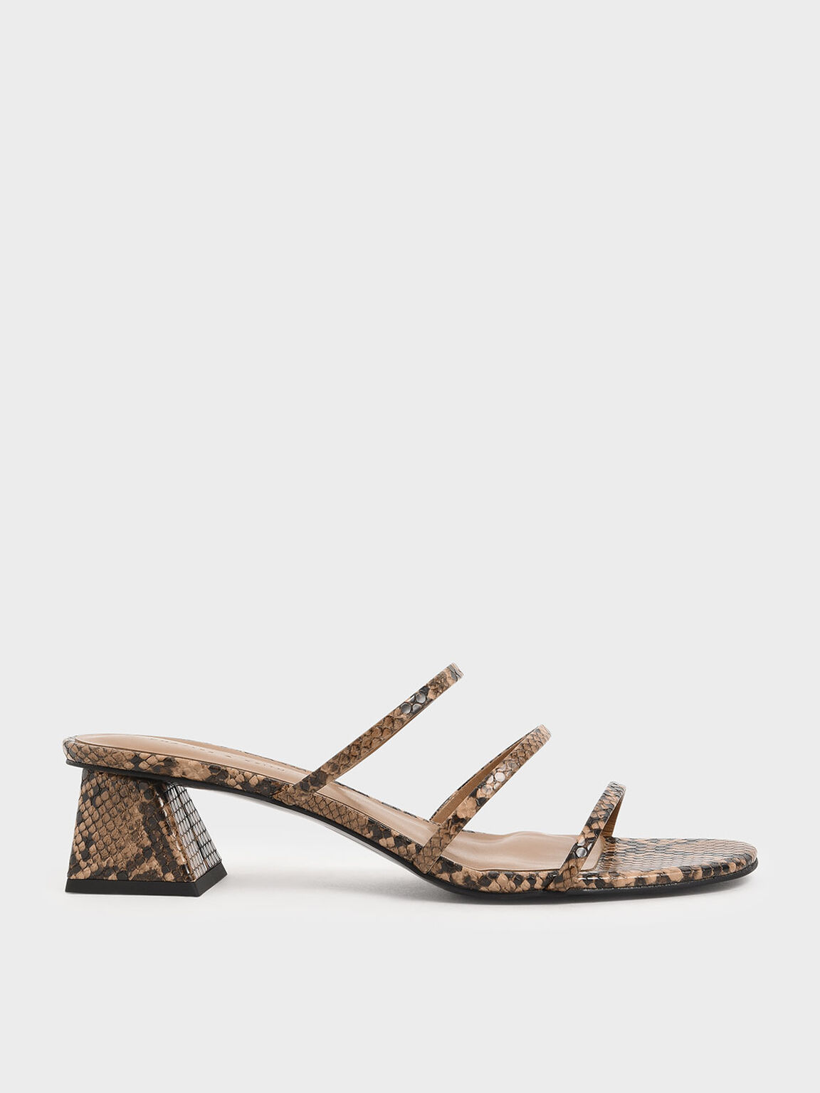 Snake Print Triple Strap Slide Sandals, Brown, hi-res