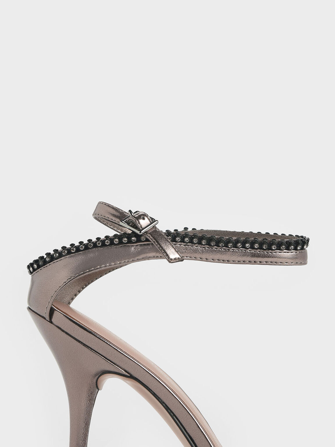 Gem Embellished Ankle Strap Metallic Heeled Sandals, Pewter, hi-res