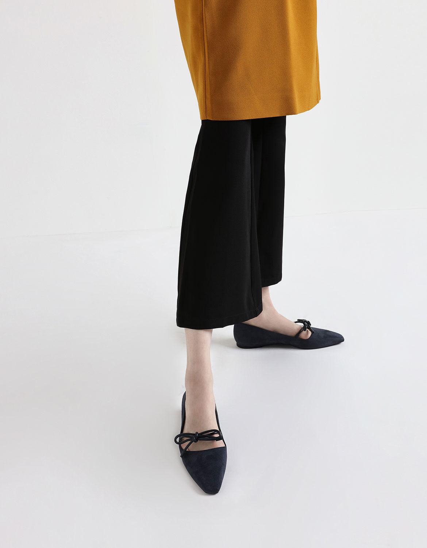 Black Textured Mini Square Toe Bow