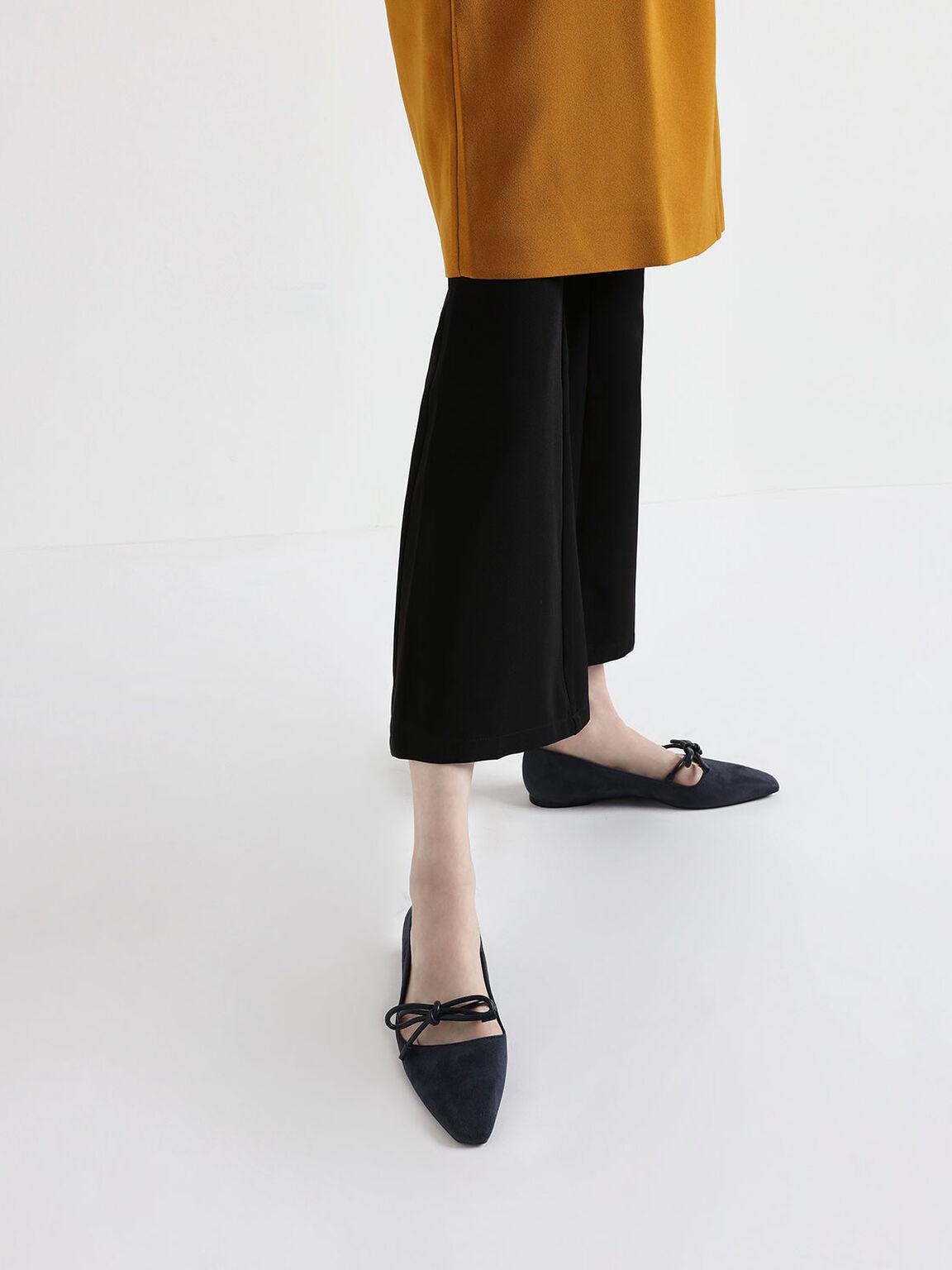 Textured Mini Square Toe Bow Strap Ballerina Flats, Black, hi-res