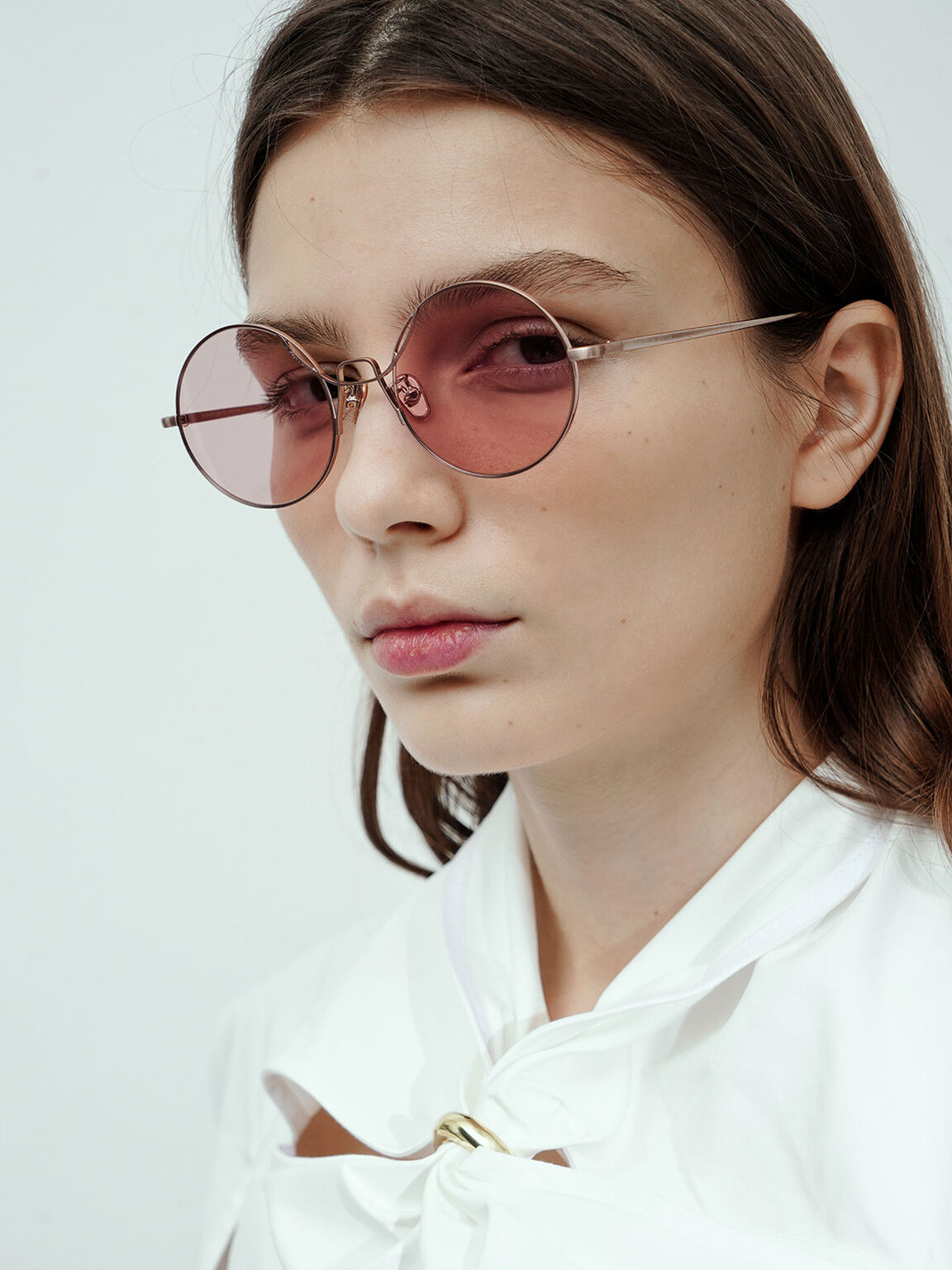 Round Tinted Sunglasses, Rose Gold, hi-res