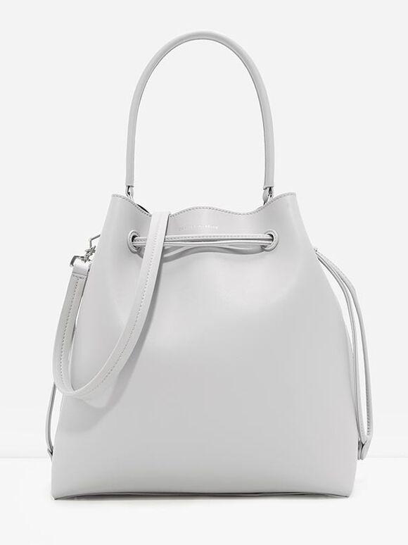 Basic Drawstring Bag, Light Grey, hi-res