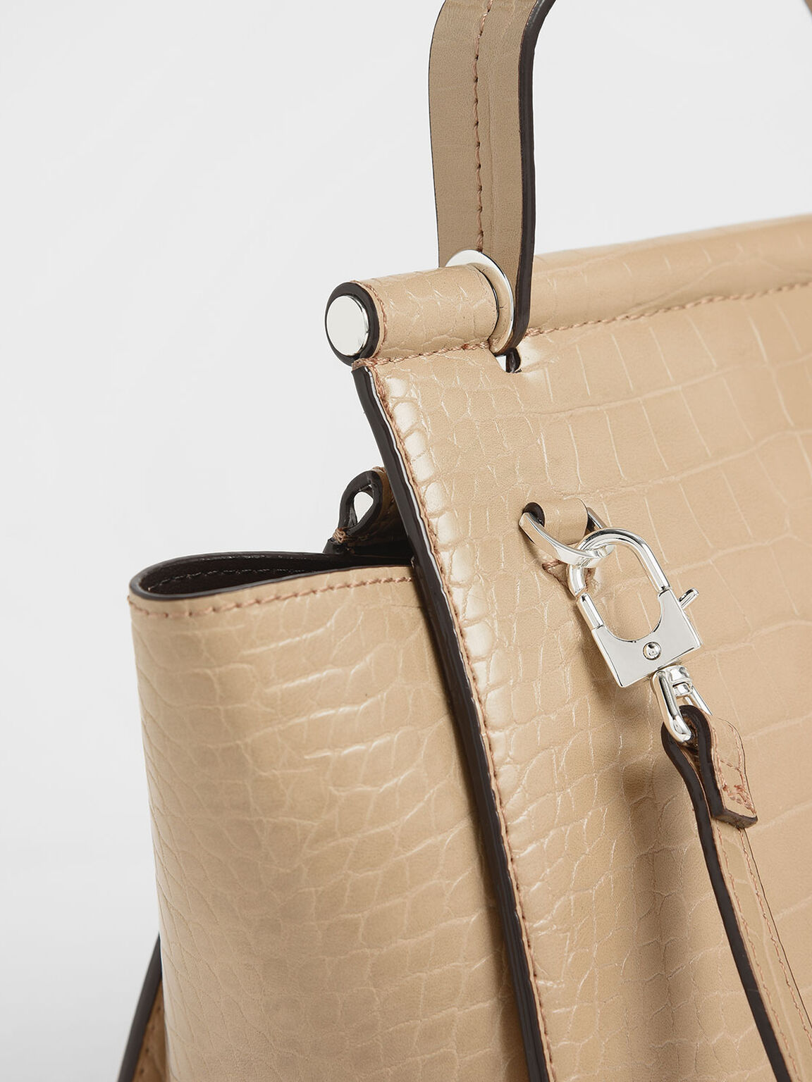 Croc-Effect Trapeze Bag, Beige, hi-res