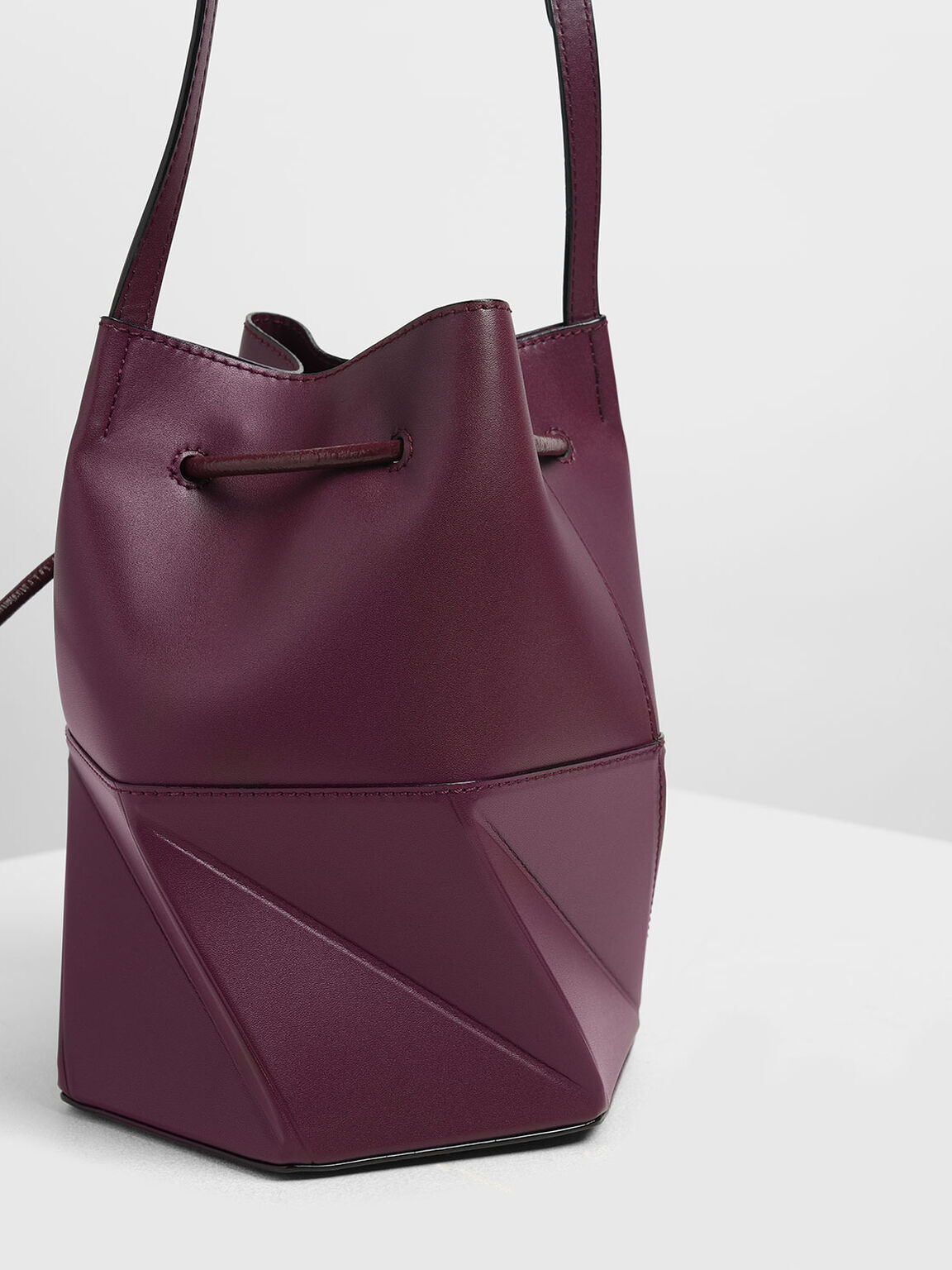 Geometric Drawstring Bucket Bag, Prune, hi-res