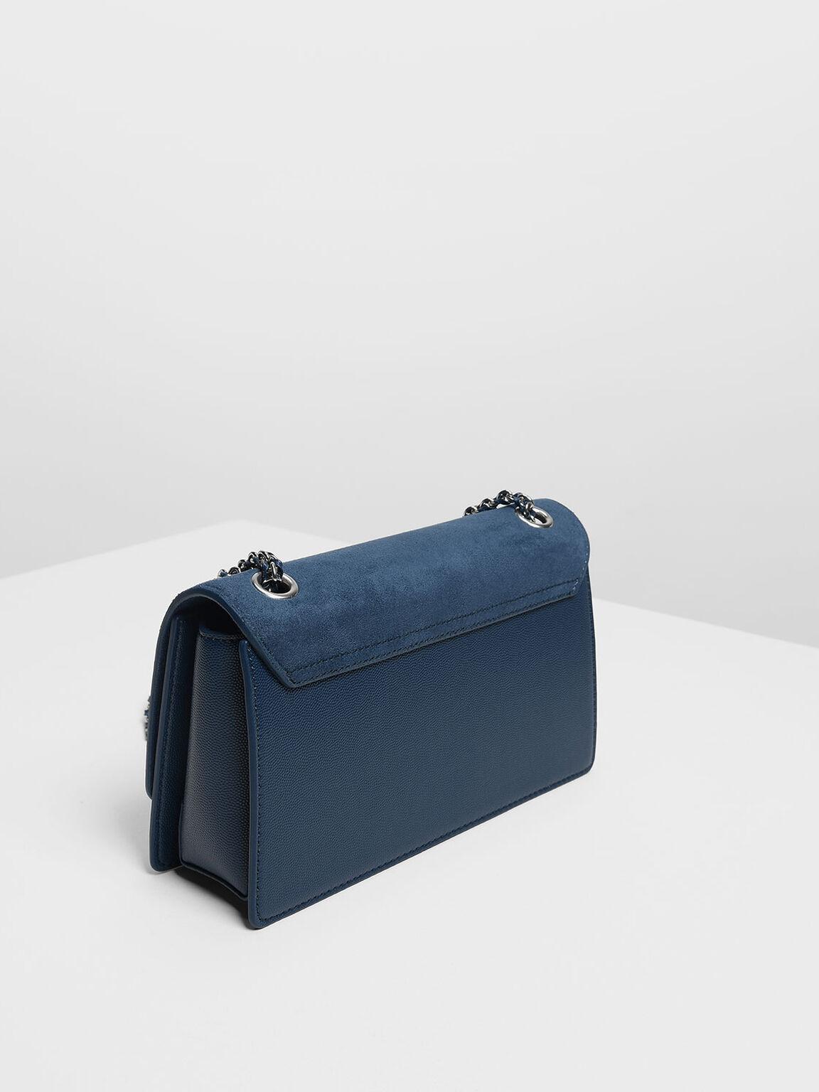 Textured Chain Link Shoulder Bag, Blue, hi-res