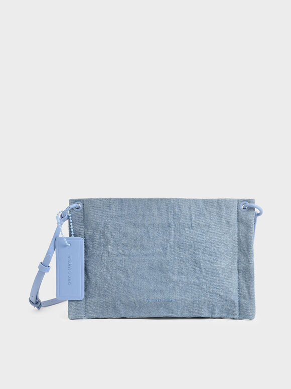 Textured Zip Clutch, Denim Blue, hi-res