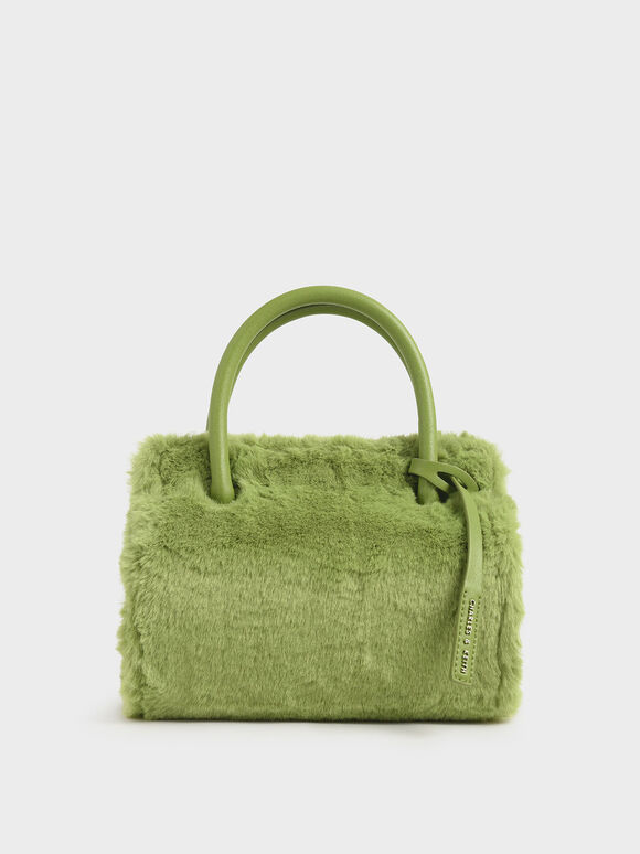 Textured Double Top Handle Bag, Green, hi-res