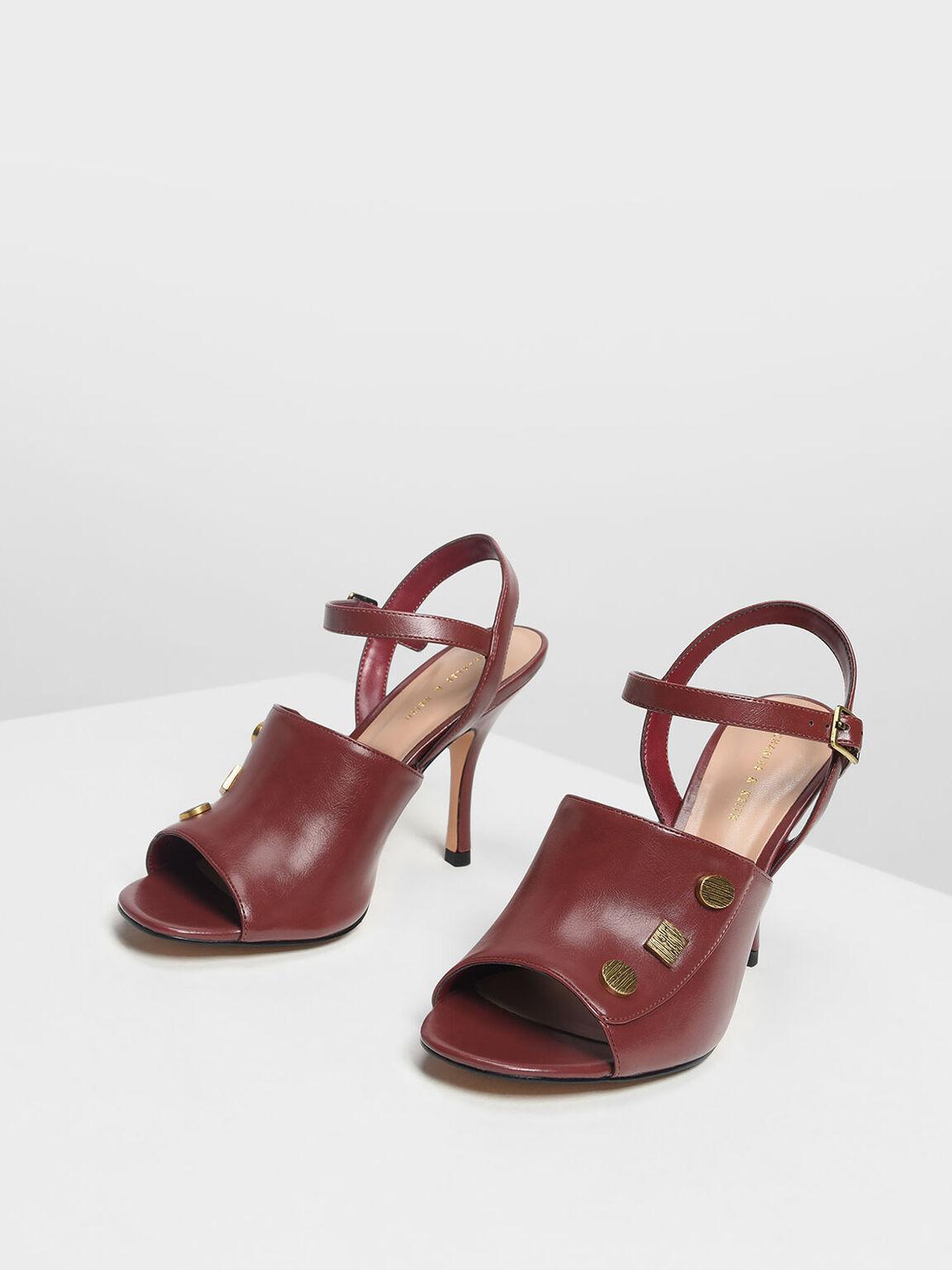 Vintage Button Heeled Sandals, Burgundy, hi-res