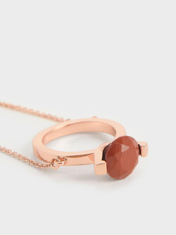 Red Jasper Stone Ring Bracelet, Rose Gold