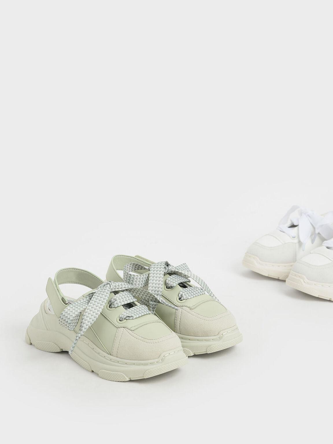 Girls' Slingback Sneakers, White, hi-res