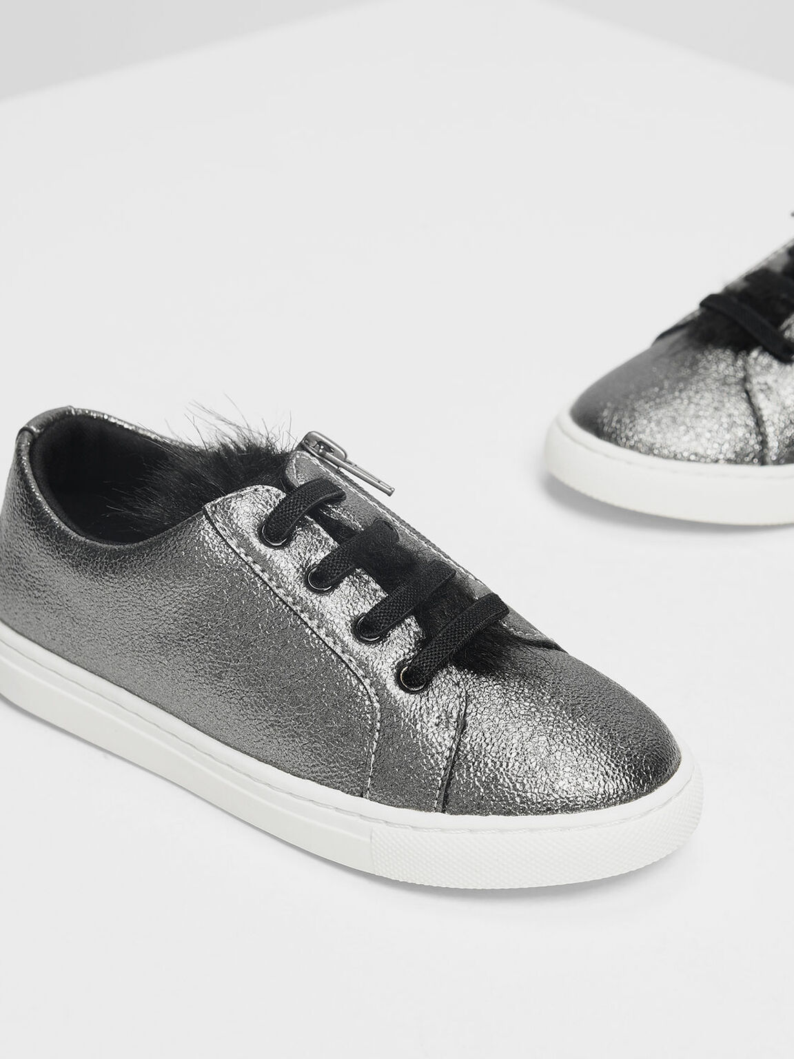 Kids Metallic Sneakers, Pewter, hi-res