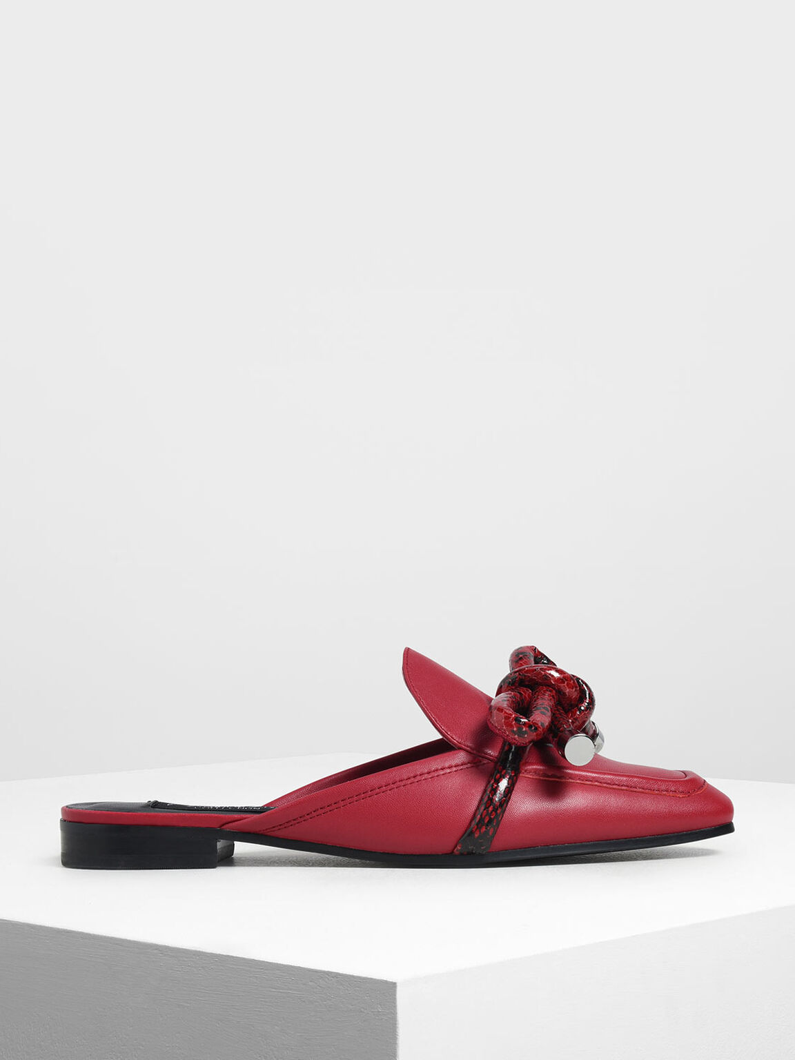 Snake Print Bow Mules, Red, hi-res