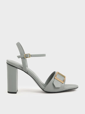 Frame Buckle Chunky Heel Sandals, Light Blue