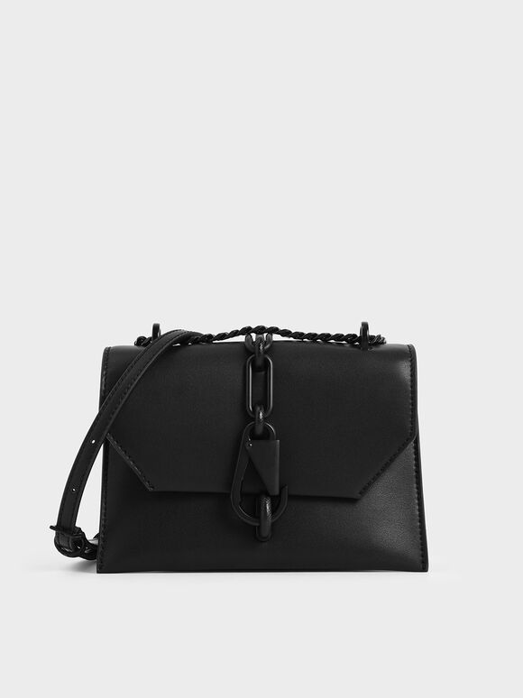 Metallic Accent Crossbody Bag, Black, hi-res