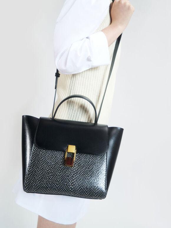 石紋壓釦手提包, 黑色, hi-res