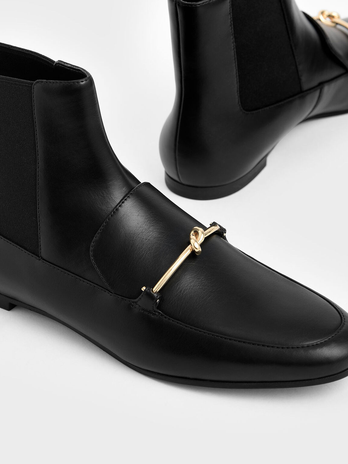 Metallic Knot Accent Chelsea Boots, Black, hi-res