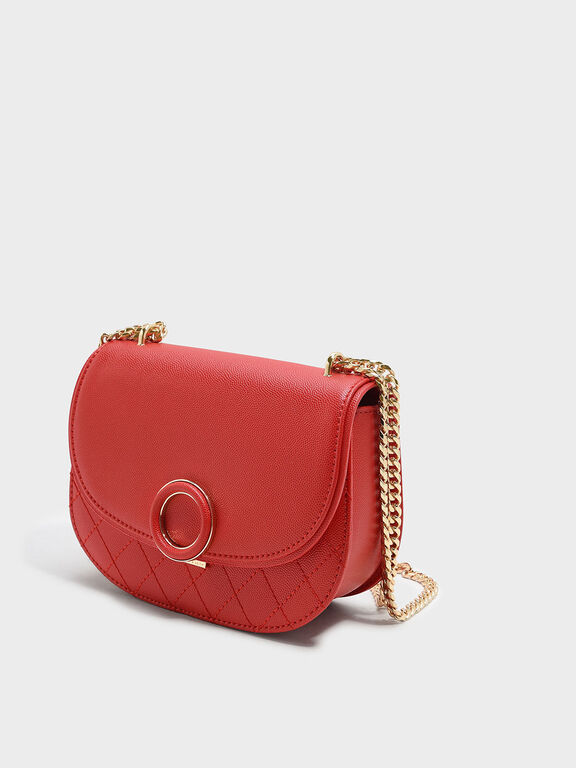 Circular Buckle Crossbody Bag, Red