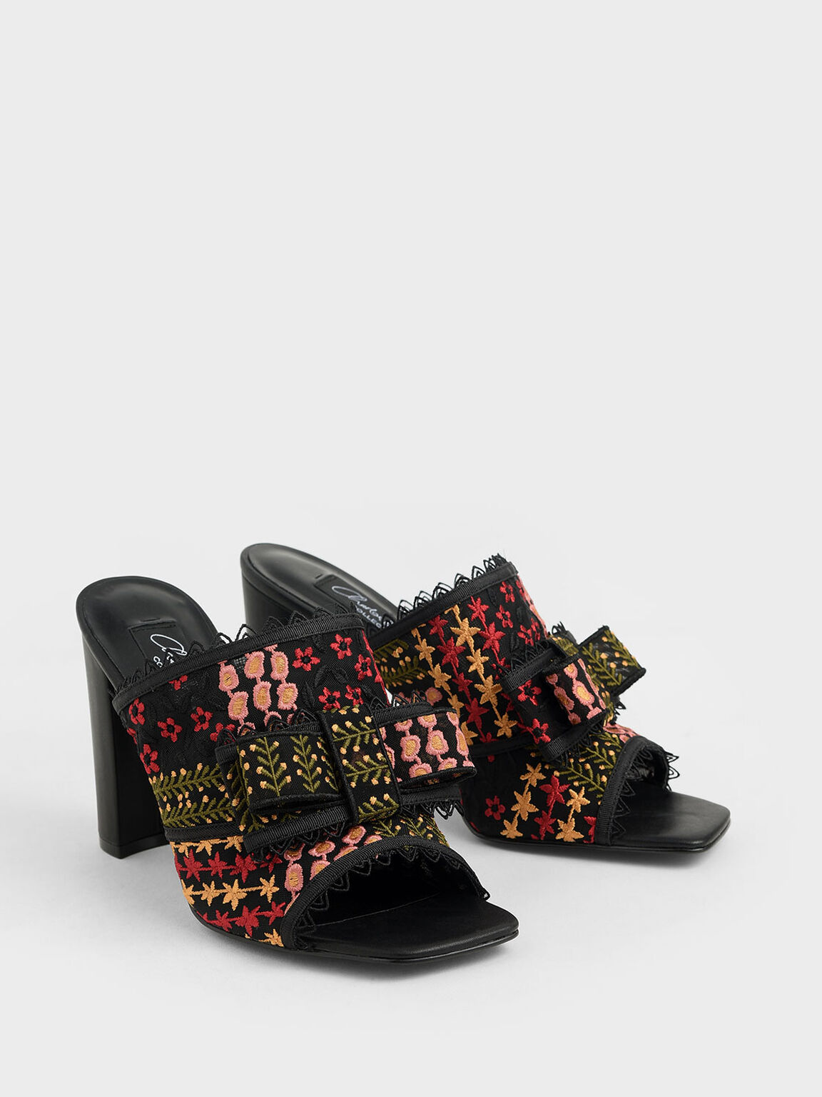 Floral Embroidered Mesh Mules, Multi, hi-res