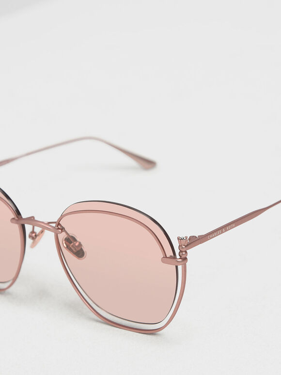 Cut Out Butterfly Sunglasses, Pink, hi-res
