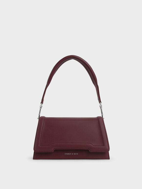 Trapeze Front Flap Bag, Burgundy, hi-res