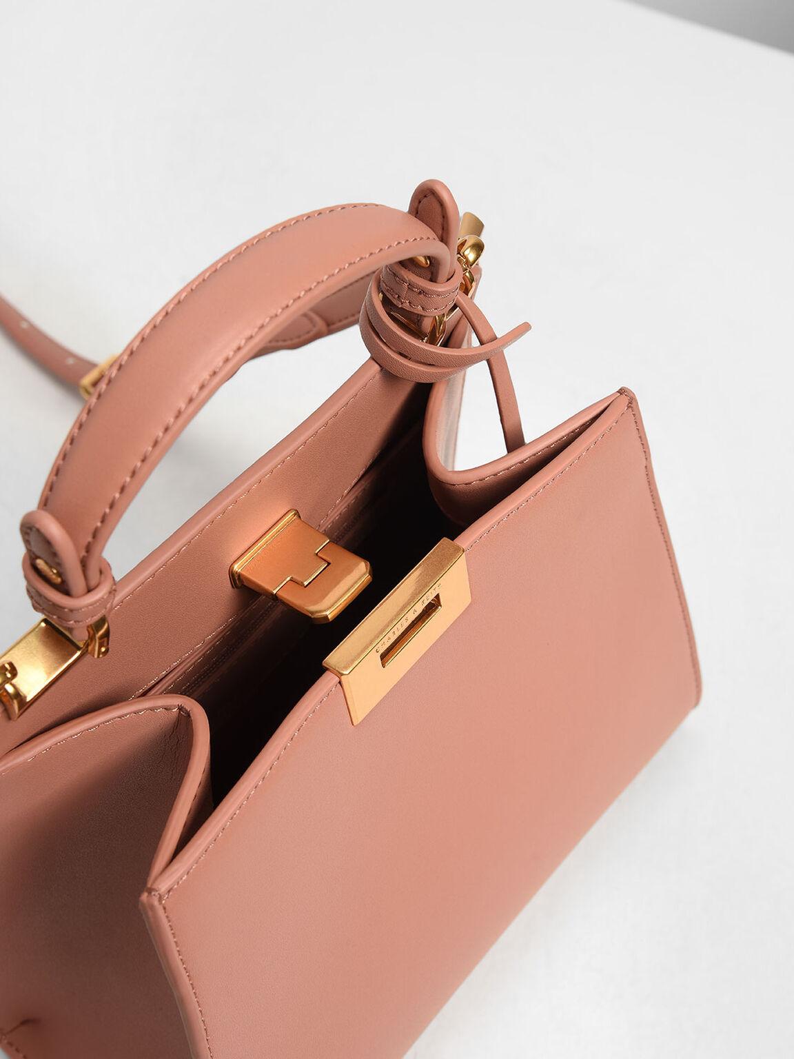 Classic Metal Detail Push Lock Bag, Clay, hi-res