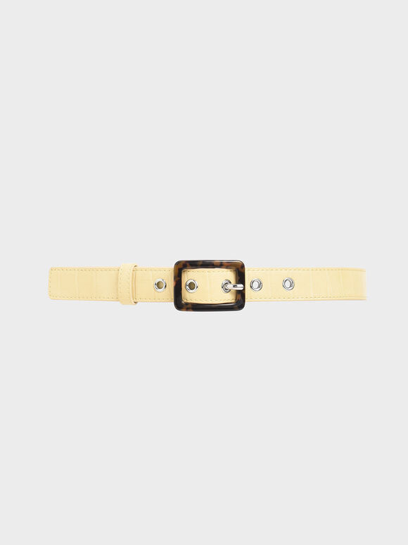 Croc-Effect Mid Waist Belt, Yellow, hi-res