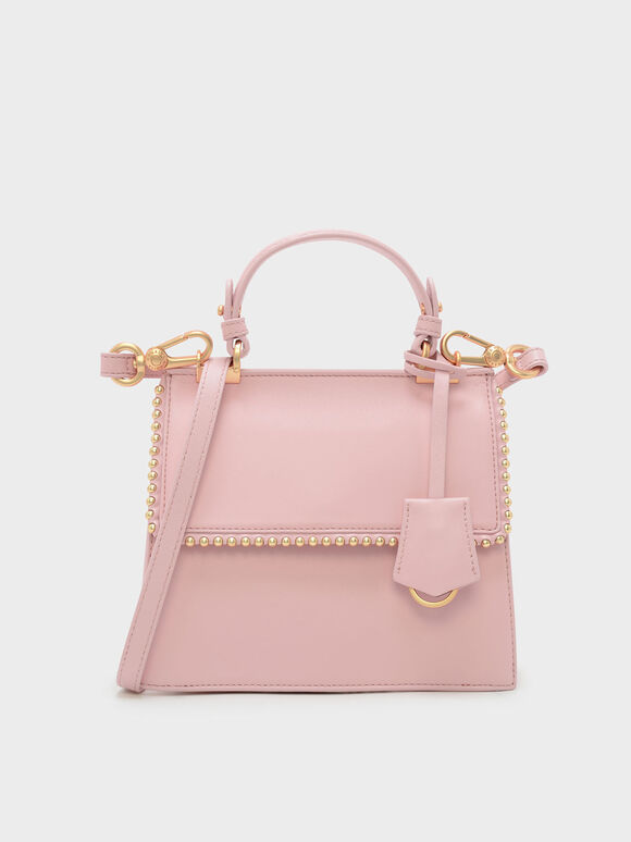 Bead Detail Leather Front Flap Bag, Pink, hi-res