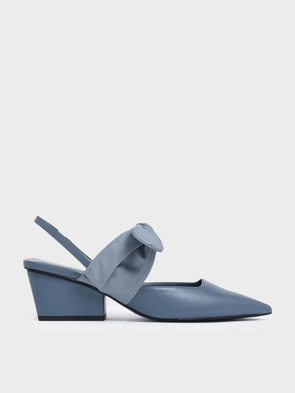 Grosgrain Bow Wedge Heel Slingback Pumps, Light Blue